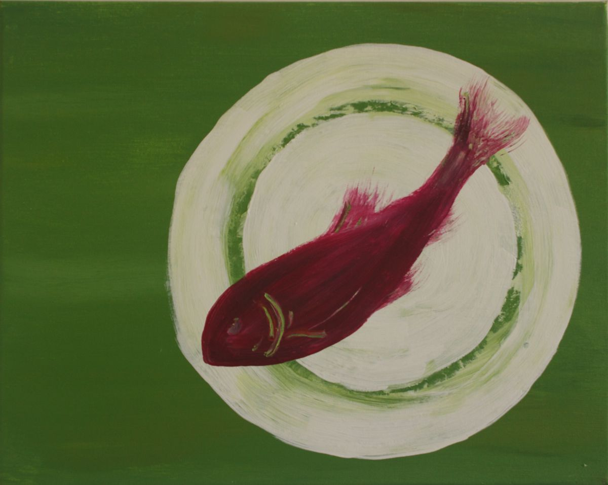 Red Herring painting in acrylics by Elizabeth Fuller