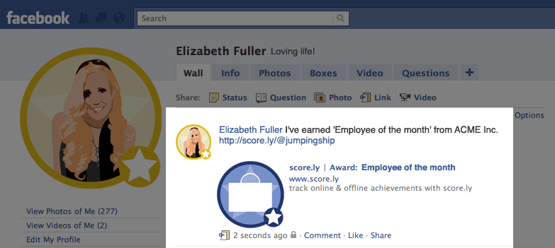 Score.ly is tied into Facebook API to share new achievements.