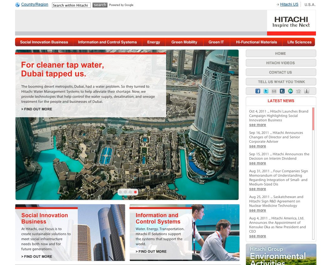 Hitachi: Connected - Homepage screenshot