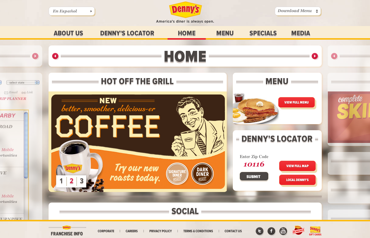 The Denny's site presents all of its content on one continuous screen.  The six pages--About us, Denny's Locator, Home, Menu, Specials, and Media--are lined up  and house a series of related modules that can be collapsed and expanded to optimize each user's experience.  Users can navigate the entire site with simple JQuery animations and no reloading.