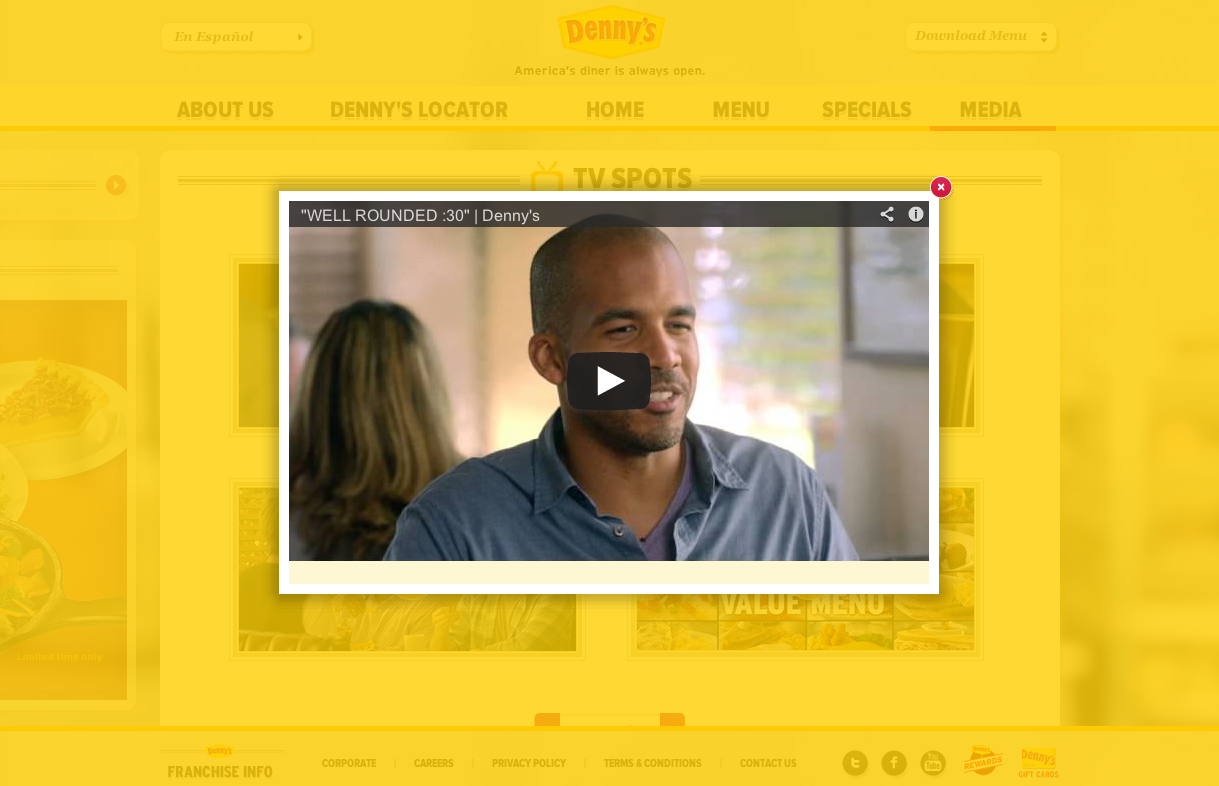 More detailed information, such as videos, are viewable through popups that highlight the content while maintaining the overall context of the Denny's website.